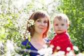 Mother and baby in blossoming garden — Stock Photo