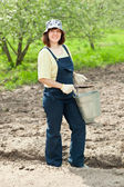 Woman fertilizes the soil — Stock Photo