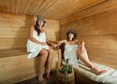 Two women in sauna — Stock Photo