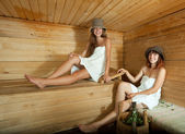 Happy girls in sauna — Stock Photo