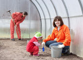 Happy family works in greenhouse — Stock Photo