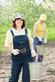 Women fertilizes the soil — Stock Photo