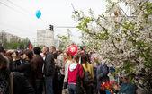 Pohledu průvod na náměstí vítězství — Stock fotografie
