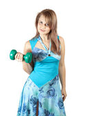 Woman with barbell — Stock Photo
