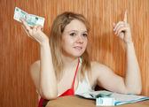 Woman thinks about financial issue — Stock Photo