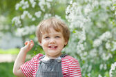 Happy toddler in spring — Stock Photo