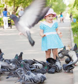 Two-year girl playing with doves — Stock Photo