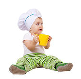 Baby cook over white background — Foto de Stock