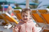 Happy toddler at resort — Stock Photo