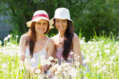 Happy women in dandelion plant — Stok fotoğraf