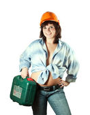 Girl in hardhat with tool box — Stock Photo