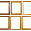Set of 6 gold frames — Stock Photo