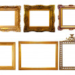 Few gilded frames. Isolated over white background — Stock Photo