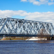 Railway bridge at in spring  flood — Stock Photo