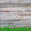 Wooden fence with grass — 图库照片