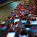 trafik på natten road — Stockfoto