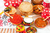 Russian Shrovetide meal — Stock Photo