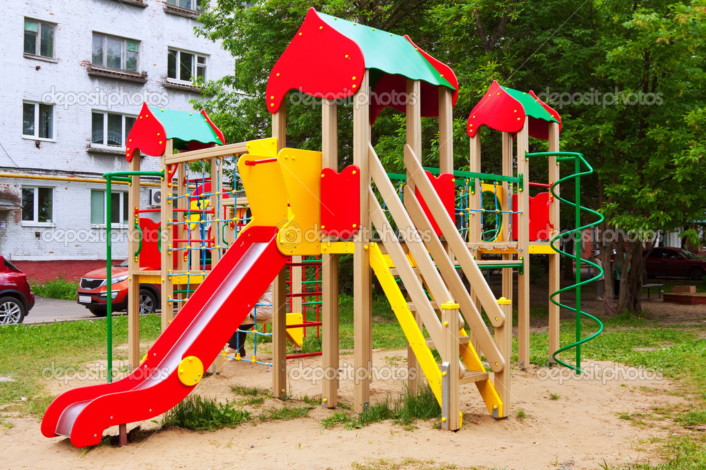 Childrens playground area in summer, nobody  Stock Photo #12488934