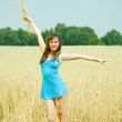 Girl with wheat ears — Stock Photo #12491646