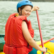 Girl on the raft - Stock Photo
