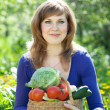 Woman with basket of harvested vegetables - Stock Photo