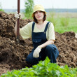 Farmer works with manure - Stock Photo