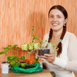 Female gardener with sprouts — Stock Photo #12495654