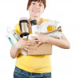 Stock Photo: Woman with household appliances