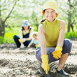 Women and kid sows seeds in soil - Stock Photo