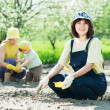 Women with child works at vegetables garden - Stock Photo