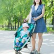 Mother with stroller — Stok fotoğraf