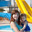 Mother with  toddler at aquapark — Stock fotografie