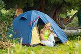 Camping happy woman — Stock Photo