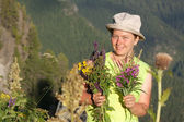 Woman gathers herbs — Stock Photo