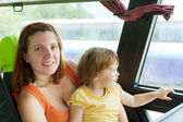 Mother and child in commercial bus — Stock Photo