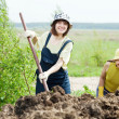 Women works with  manure at field - Photo