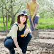 Women works at vegetables garden — Stock Photo