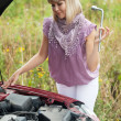 Woman trying to fix the car - Stock Photo