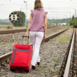 Rear view of woman walking on rail — Stock Photo #12502997