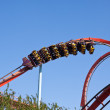 Stock Photo: Red roller coaster at Port Aventura park, Spain