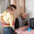 Man works at home — Stockfoto
