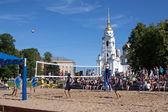 Unidentified players in beach volleyball tournament — Stock Photo