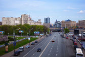 View of Moscow. Square of Europe and Borodinsky Bridge — Stock Photo