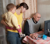 Man works at home — Foto Stock