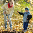 Woman with son setting tree in autumn — Stock Photo #12510802