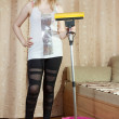Womcleans with mop — Stockfoto #12510892