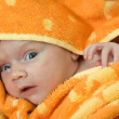 Baby wrapped in warm blanket — Stock Photo