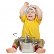 Baby cook in toque with pan. Isolated over white — Stock Photo