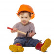 Stock Photo: Toddler in hardhat with tools. Isolated over white