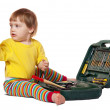 Toddler with tool box. Isolated over white - Stock Photo